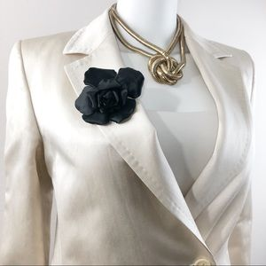 CHANEL • Vintage Camellia Flower Satin Brooch Pin
